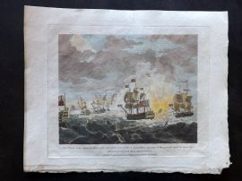 Field of Mars 1801 HCol Naval Print. Defeat of the Spanish Fleet by Rodney